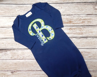 Infant boy going home outfit; Boys gown; Baby boy gown; infant boy gown; going home outfit; navy gown; boy's blue gown; SHIPS 3-5 days