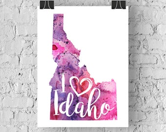 I Heart Idaho Map Art Print, I Love Idaho Watercolor Home Decor Map Painting, ID Giclee US State Art, Housewarming or Moving Gift, Hand draw