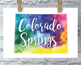 Custom Colorado Map Art, Colorado Watercolor Heart Map Home Decor, Colorado Springs, Your City Hand Lettering, Personalized Print, 5 Colors