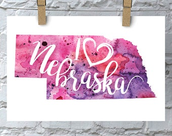I Heart Nebraska Map Art Print, I Love Nebraska Watercolor Home Decor Map Painting, NE Giclee US State Art, Housewarming Gift, Moving Gift