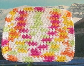 Hand crochet cotton dish cloth 6.5 by 6.5 CDC 044