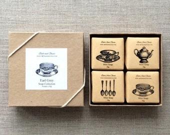 Tea Soap Gift Set, Earl Grey soap gift set, Tea themed soap set, soap gift box, bridesmaid gift, hostess gift, Wholesale soap Set