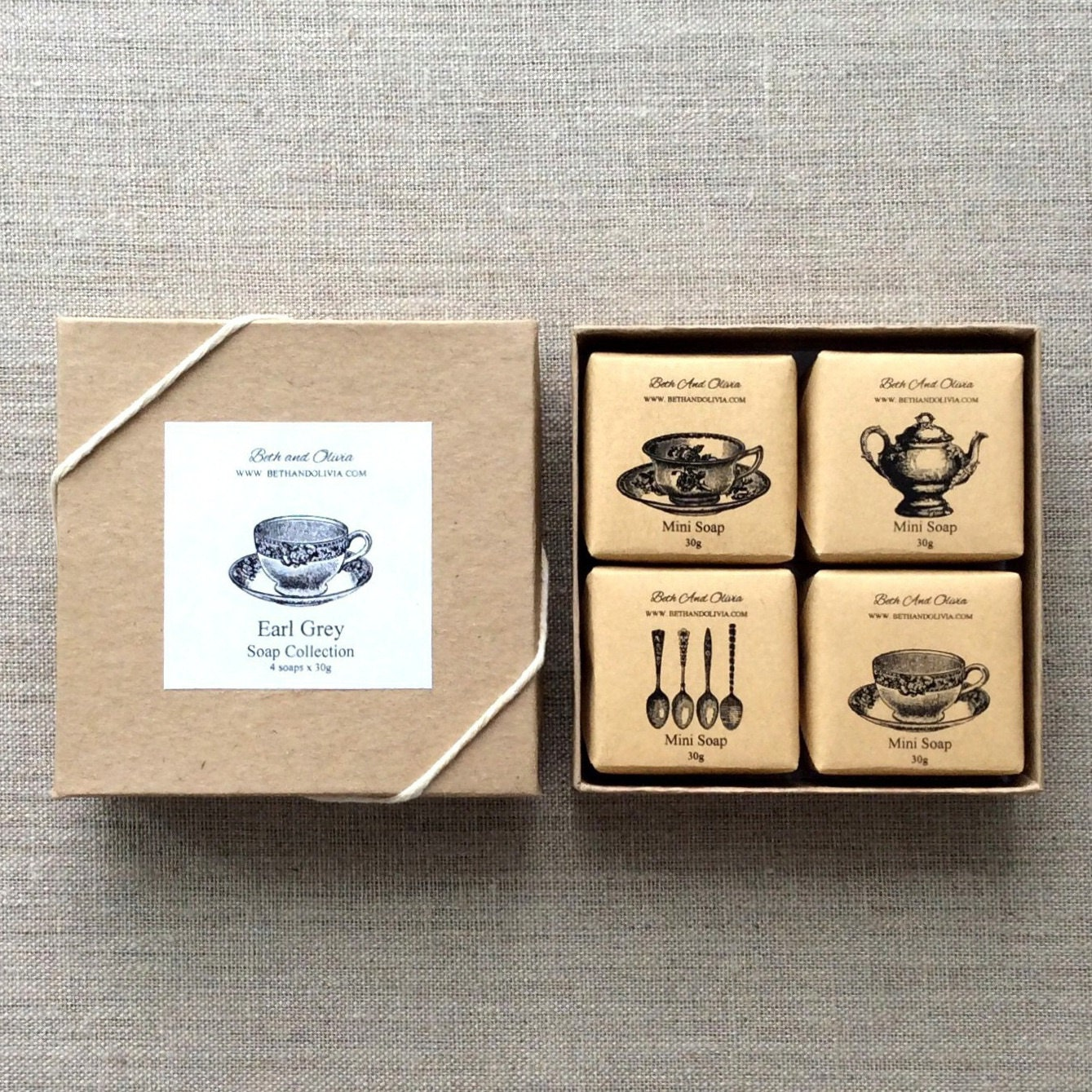 Tea Soap Gift Set, Earl Grey soap gift set, Tea themed soap set, soap gift box, bridesmaid gift, hostess gift, Wholesale soap Set