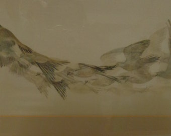 "Original Silk  Art ""Flying Pigeons"" by Miranda Brookes"