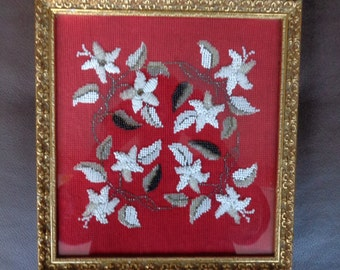 Antique Victorian  Glass Beaded Embroidery Dated 1858