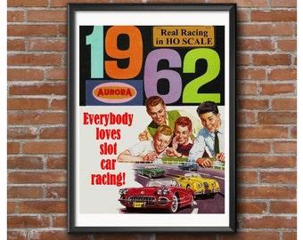 1962 Aurora HO Scale Slot Car Racing Poster-Everybody Loves Slot Car Racing!