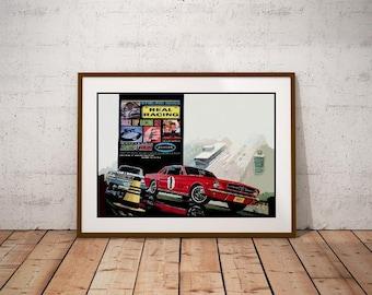 Classic 1960's Aurora Ho Scale Slot Car Racing Set Box Art Poster -Sterling Moss