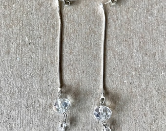 Handmade Sterling Silver Chain and Crystal Earrings 2.5""