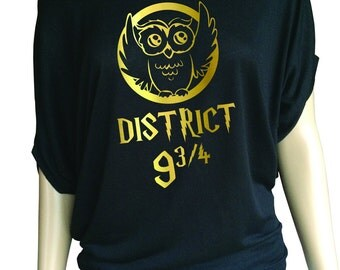 Harry Potter inspired district 9 3/4 Ladies Flowy Off the Shoulder short Sleeve t-shirt.