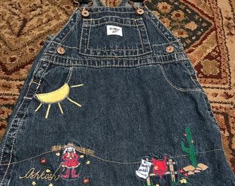 Vintage Oshkosh embroidered 12 months jean jumper
