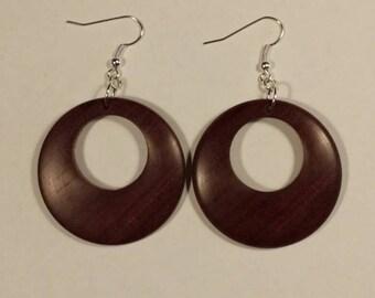 Hand-turned exotic wood earrings