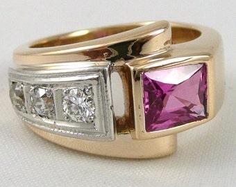 Gold Sapphire Ring With Diamonds, Vintage 14K Gold Pink Sapphire Diamond Ring, Retro Gold Pink Sapphire Diamond Ring