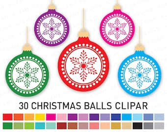Christmas Clipart, Christmas Ornament Clipart, Christmas Balls Clipart, Holiday Clipart, Digital Christmas, Printable Christmas, Christmas