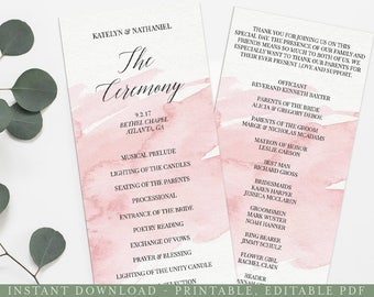 Pink Watercolor Printable Wedding Program, Printable Program Template, Wedding Program Printable, Wedding Program Template, Download,  PRO11