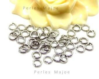 100 x anneaux de jonction ouverts couleur platine diamètre 4 mm
