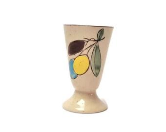 Vintage pottery goblet with motive olives in enamelled stoneware
