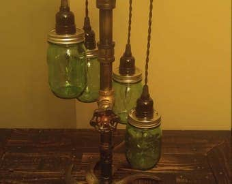Ball Jar/Steel Pipe Pendant Lamp (small jars)