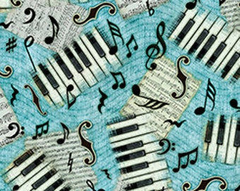 Encore Piano Keys and Music Notes on Blue Aqua Turquoise - by the Half Yard