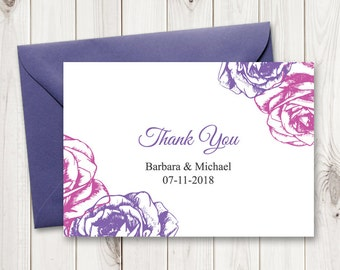 "Purple Wedding Thank You Template. DIY Printable Thank You Card ""Summer Roses"", Purple and Violet. Editable text, MS Word. Instant Download."