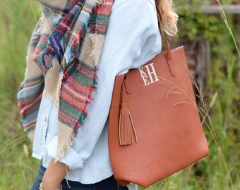 Monogram Leather Tote w/Tassel - Camel Tote