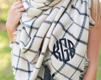 Blanket Scarf Ivory / Black