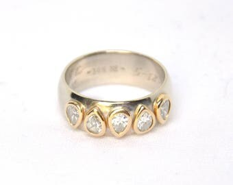 14K White Gold Five Pear Diamond Wide Ring, Diamond Engagement Ring, Alternative Engagement ring