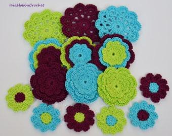Crochet Flowers mix, Crochet Appliques, Crochet Flower, Crochet Embellishments set of 15 - READY TO SHIP