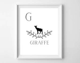 Black and White Giraffe Nursery Print - G is for Giraffe - Nursery Alphabet print - Modern Nursery art - Nursery decor - Kids room decor