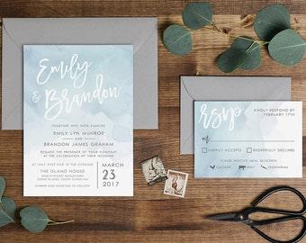 Dusty Blue Watercolor Wedding Invitation // Digital or Printed //
