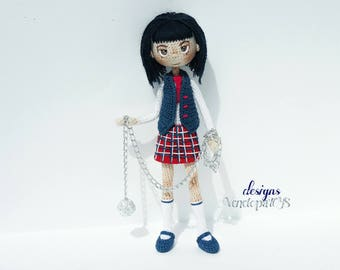 Doll Schoolgirl, amigurumi crochet doll, crochet doll, frame doll