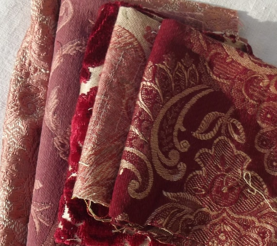 Bundle of Vintage French Fabric Pieces material Blocks Woven Damask Linen Silks Textile Scraps