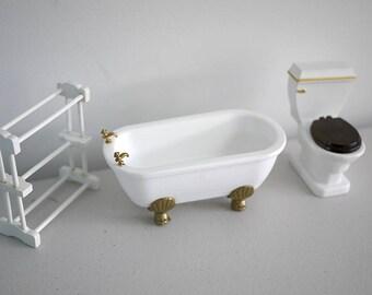 Dollhouse miniature bathroom set, dollhouse toilet, miniature toilet, 1 12th scale toilet, dollhouse bathroom set, miniature bathroom