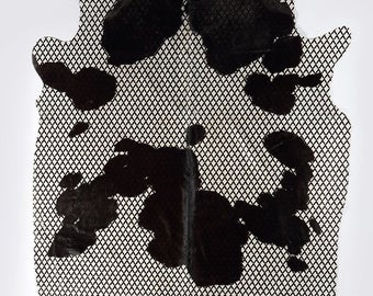 Unique Line Printed Black and White Cowhide Rug - High Quality and Natural Cow Hide