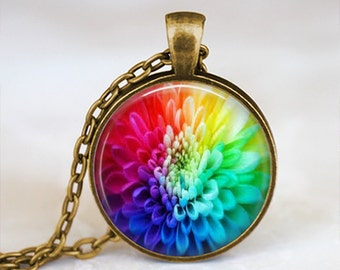 Multicolored Rainbow Dalia - Flower Nature Handmade Pendant Necklace