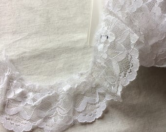 "Wide White Lace Trim 2-1/8"" wide x 3-7/8 yards long"