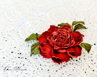 Leather flower Red rose, rose corsage flower, leather Jewelry gift for her, rose brooch, leather jewelry rose. Birthday gift for her. OK