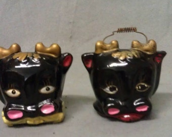 Black Cats-Cows with Pink Ears and Nose with Red Mouth and Blue Eyes Salt and Pepper Shaker Set