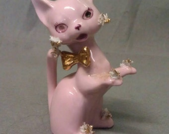 Pink Cat with Maroon Eyes Nose and Mouth and Gold Trim Cat Figurine