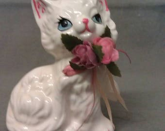 White Cat with Blue Eyes Pink Ears Nose and Mouth with Bouquet of Flowers Cat Figurine