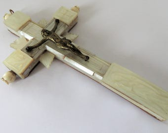 Antique French, Hand Carved, Mother Of Pearl, 19th Century Crucifix