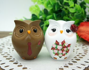 Interracial Wedding Cake Toppers-Funny Owl Wedding Cake Toppers-Bride And Groom Interracial Wedding Cake Toppers