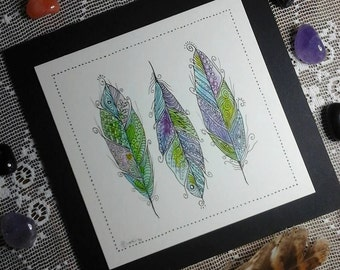 Feather painting,bright feathers,Feather illustration,pen and ink illustration,feather picture,original illustration,