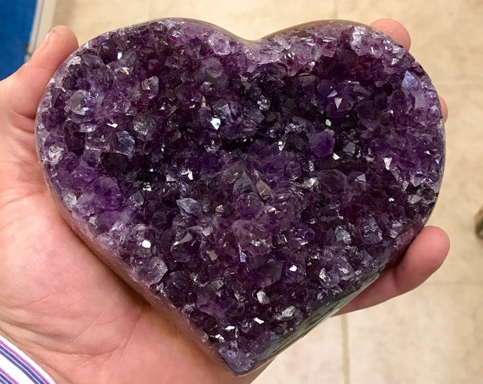"Amethyst Druzi Heart High Quality- Hand Carved- Medium Size 6"" X 5"" From Brazil Home Decor \ Metaphysical \ Crystal \ Reiki \ Crystal Heart"