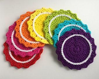 Rainbow Coaster Set, Crochet Coasters