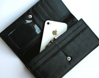Womens Wallet, Leather Wallet, Black Wallet,  Black Purse