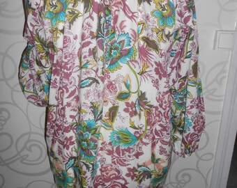 Woman's Floral Smock, Floral Tunic, Floral Shirt, Vintage Clothing, Plus Size Clothing, Floral Top, Cotton Smock, Smock Top