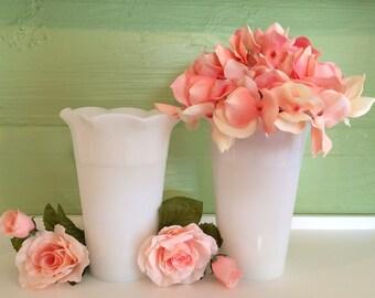 Milk Glass, White Vases, Hazel Atlas, Bouquet Vases, Vintage Decor, Vintage Wedding, Milk Glass Lot, Brody