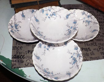 Early mid-century (c.1940s) Myott China Lyke Sound of Music cereal, soup or salad bowl. Blue-grey flowers, fluted rim, scalloped edge.
