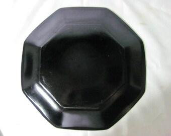 Vintage (c. late 1980s) Arcoroc | Arcopal | Luminarc Novoctime black glass salad | dessert plate. Octagonal shape, all black glass.