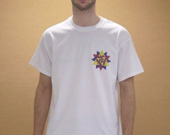 White Short Sleeved T-shirt With 90s Geometric Kaleidoscope Front1014 Back1014